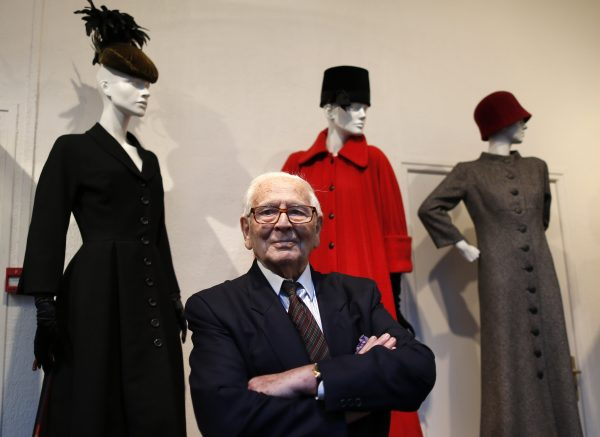"French fashion designer Pierre Cardin poses in front of his 1951-1952 first fashion creations in his museum called ""Past-Present-Future"" in Paris"